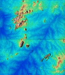 This topographic image acquired in February 2000 by NASA's Shuttle Radar Topography Mission (SRTM) shows an area south of the Sao Francisco River in Brazil.