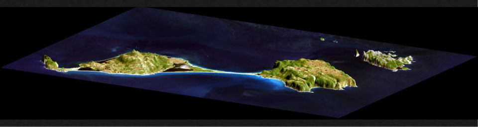 This image acquired by NASA's Shuttle Radar Topography Mission (SRTM) from data collected on February 12, 2000 shows two islands, Miquelon and Saint Pierre, located south of Newfoundland, Canada.