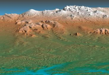 This perspective view acquired by NASA's Shuttle Radar Topography Mission (SRTM) from data collected on February 12, 2000 shows the western side of the volcanically active Kamchatka Peninsula, Russia.