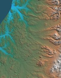 This topographic map acquired by NASA's Shuttle Radar Topography Mission (SRTM) from data collected on February 12, 2000 shows the western side of the volcanically active Kamchatka Peninsula, Russia.