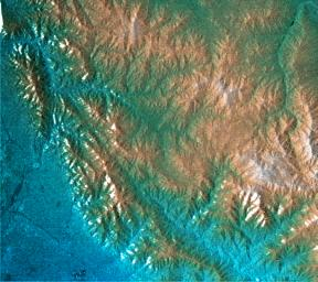 This topographic radar image acquired by NASA's Shuttle Radar Topography Mission (SRTM) from data collected on February 16, 2000 shows the relationship of the urban area of Pasadena, California to the natural contours of the land.