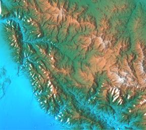 This topographic acquired by NASA's Shuttle Radar Topography Mission (SRTM) from data collected on February 16, 2000 shows the relationship of the urban area of Pasadena, California to the natural contours of the land.