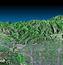 Pasadena, California Perspective View with Aerial Photo and Landsat Overlay