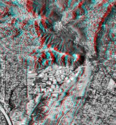 This anaglyph shows NASA's Jet Propulsion Laboratory (JPL) in Pasadena, California as seen by the instrument onboard NASA's Shuttle Radar Topography Mission. 3D glasses are necessary to view this image.