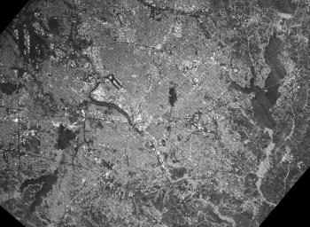 This radar image acquired by NASA's Shuttle Radar Topography Mission (SRTM) from data collected on February 18, 2000 shows the Dallas-Fort Worth metropolitan area in Texas.