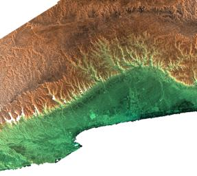 This radar image acquired by NASA's Shuttle Radar Topography Mission from data collected on February 15, 2000 includes the city of Salalah, the second largest city in Oman.