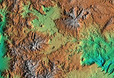 Shaded relief, color as height Patagonia, Argentina