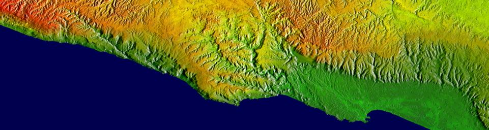 Shaded relief, color as height, Salalah, Oman