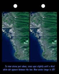 Honolulu, on the island of Oahu, is a large and growing urban area. This stereoscopic image pair, combining a Landsat image with topography measured by NASA's Shuttle Radar Topography Mission (SRTM), shows how topography controls the urban pattern.