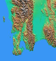 The topography of New Zealand's North Island is rich in seismic features: The sharp line cutting through the city of Wellington (on the left side of the large bay on the bottom coast) is the active Wellington Fault.