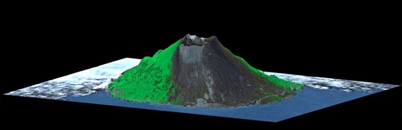 This image from NASA's Terra spacecraft shows Mount Oyama, an 820-meter-high (2,700 feet) volcano on the island of Miyake-Jima, Japan.