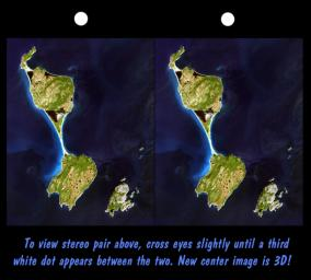 This stereoscopic satellite image showing Miquelon and Saint Pierre Islands, located south of Newfoundland, Canada, was generated by draping NASA's Landsat satellite image over a preliminary Shuttle Radar Topography Mission (SRTM) elevation model.