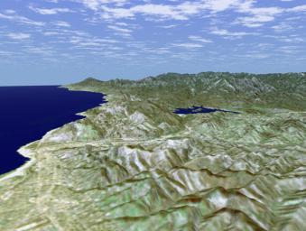 SRTM Perspective View with Landsat Overlay: Ventura, and Lake Casitas, California