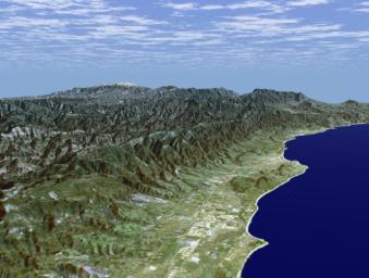 Santa Barbara, California, is often called 'America's Riviera' as seen in this image generated from NASA's Shuttle Radar Topography Mission (SRTM) data on February 16, 2000.