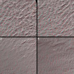 This stereo image mosaic from NASA's Mars Global Surveyor is of Mars' south polar terrain. 3D glasses are necessary to view this image.