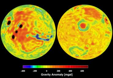 NASA's Mars Global Surveyor shows a vertical gravity map of Mars color-coded in mgals based on radio tracking.
