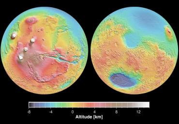 These maps are global false-color topographic views of Mars at different orientations from NASA's Mars Orbiter Laser Altimeter (MOLA). The maps are orthographic projections that contain over 200,000,000 points and about 5,000,000 altimetric crossovers.