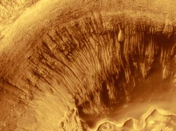 NASA's Mars Global Surveyor shows Newton Crater, a large basin on Mars formed by an asteroid impact that probably occurred more than 3 billion years ago.