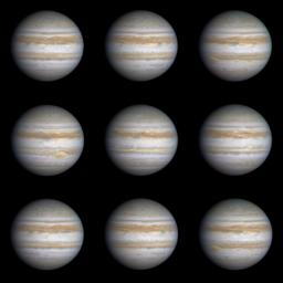 This sequence of nine true-color, narrow-angle images shows the varying appearance of Jupiter as it rotated through more than a complete 360-degree turn. Image from NASA's Cassini spacecraft.