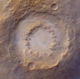 NASA's Mars Global Surveyor shows frosted craters of northern spring and southern autumn in Lowell Crater on Mars.