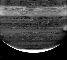 Images from NASA's Cassini spacecraft using three different filters reveal cloud structures and movements at different depths in the atmosphere around Jupiter's south pole.