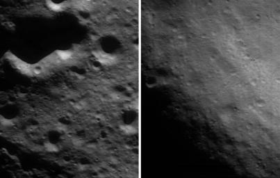 This pair of images taken by NASA's NEAR Shoemaker on Apr. 18, 2000, shows the dissimilarity of two different regions of the asteroid Eros. At left, a region typical of Eros, at right, the inside of the saddle which has far fewer craters.