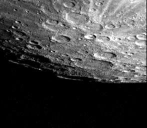 Mercury's south pole was photographed by one of NASA's Mariner 10's TV cameras; the pole is located inside the large crater on Mercury's limb (lower center).