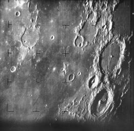 Ranger 7 took this image, the first picture of the Moon by aU.S. spacecraft, on 31 July 1964 at 13:09 UT (9:09 AM EDT) about 17 minutes before impacting the lunar surface.