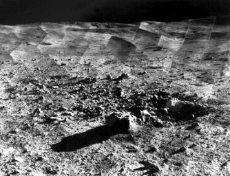 Photomosaic of lunar panorama near the Tycho crater taken by Surveyor 7. The hills on the center horizon are about eight miles away from the spacecraft.