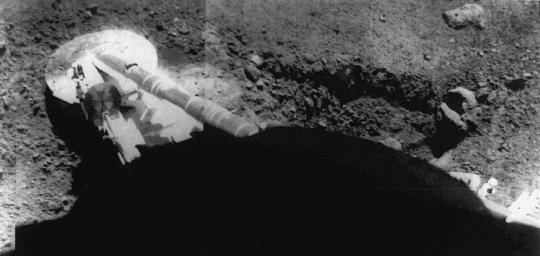 Surveyor 5 image of the footpad resting in the lunar soil. The trench at right was formed by the footpad sliding during landing. Surveyor 5 landed on the Moon on 11 September 1967 at 1.41 N, 23.18E in Mare Tranquillitatis.