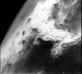 NASA's Viking Orbiter 2 image shows a large dust storm over the Thaumasia region on Mars. This large disturbance soon grew into the first global dust storm observed by the Viking Orbiters.
