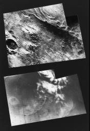 This mosaic of NASA's Mariner 9 frames (top), taken during the first orbit, shows the remnants of the south polar cap of Mars dimly through the great dust storm.