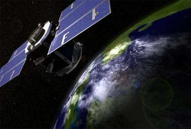 Artist's concept of NASA's CloudSat spacecraft, which will provide the first global survey of cloud properties to better understand their effects on both weather and climate.