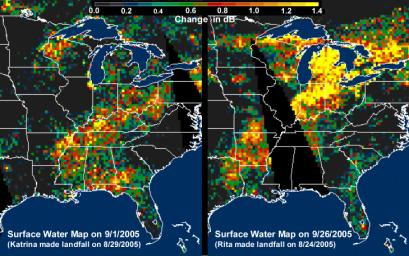 These images, derived from NASA QuikScat satellite data, show the extensive pattern of rain water deposited by Hurricanes Katrina and Rita on land surfaces over several states in the southern and eastern United States.