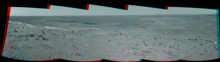 This anaglyph from NASA's Mars Exploration Rover Spirit taken on Oct 16, 2005 shows where the rover explored Gusev Crater on Mars.