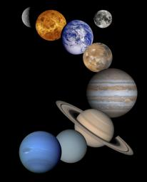 This is a montage of planetary images taken by spacecraft managed by NASA's Jet Propulsion Laboratory in Pasadena, CA. Included are (from top to bottom) images of Mercury, Venus, Earth (and Moon), Mars, Jupiter, Saturn, Uranus and Neptune.