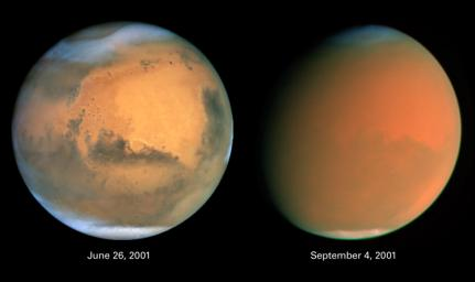 Two dramatically different faces of our Red Planet neighbor appear in these comparison images from NASA's Hubble Space Telescope, showing how a global dust storm engulfed Mars with the onset of Martian spring in the Southern Hemisphere.
