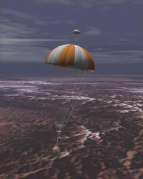Artist's rendering of NASA's Stardust capsule returning to Earth. The Stardust spacecraft will bring back samples of interstellar dust, including recently discovered dust streaming into our Solar System from the direction of Sagittarius.