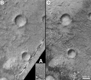 The outlines of NASA's Mariner 9, Viking, and Mars Global Surveyor images are shown are shown in this image from MGS's wide angle context image. In the right figure, sections of each of the three images showing the crater Airy-0 are presented.