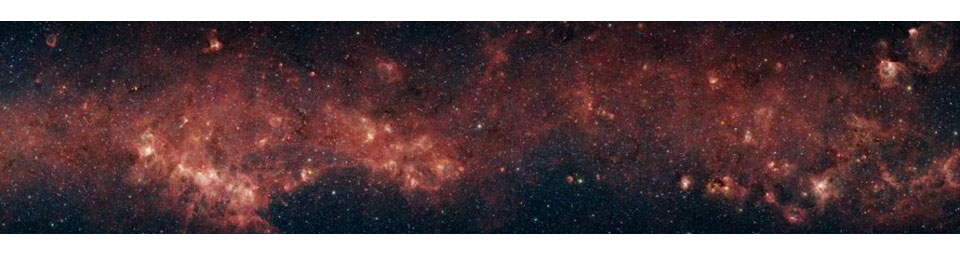 In visible light, the bulk of our Milky Way galaxy's stars are eclipsed behind thick clouds of galactic dust and gas. But to the infrared eyes of NASA's Spitzer Space Telescope, distant stars and dust clouds shine with unparalleled clarity and color.