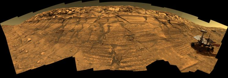Synthetic image of the Opportunity Mars Exploration Rover inside on 'Burns Cliff' produced using 'Virtual Presence in Space' technology.