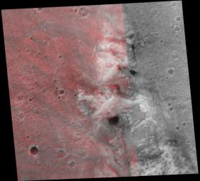 This stereo image mosaic from NASA's Mars Global Surveyor is of 'Columbia Hills.' 3D glasses are necessary to view this image.