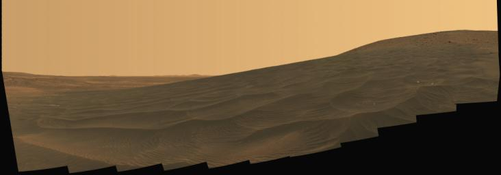 NASA's Mars Exploration Rover Spirit welcomed the beginning of 2006 on Earth by taking this striking panorama of intricately rippled sand deposits in Gusev Crater on Mars.