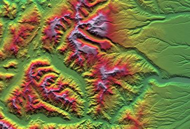 This depiction of an area south of San Martin de Los Andes, Argentina, is the first Shuttle Radar Topography Mission view of the Andes Mountains, the tallest mountain chain in the western hemisphere.