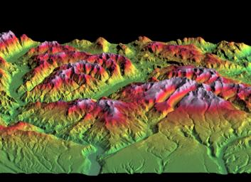 SRTM Perspective of Colored Height and Shaded Relief Laguna Mellquina, Andes Mountains, Argentina