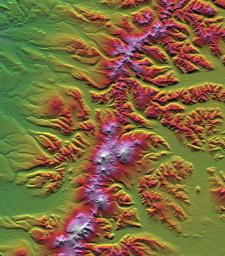 SRTM Colored Height and Shaded Relief: Sredinnyy Khrebet, Kamchatka Peninsula, Russia
