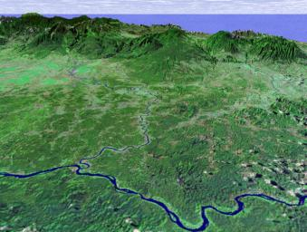 SRTM Perspective View with Landsat Overlay: Costa Rica Coastal Plain