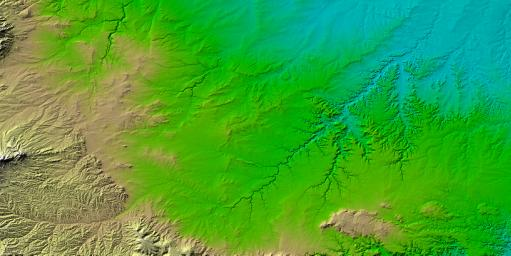 Erosional features are prominent in this view of southern Colorado taken NASA's Shuttle Radar Topography Mission (SRTM). The area covers about 20,000 square kilometers and is located about 50 kilometers south of Pueblo, Colorado.