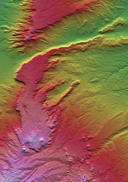 All of the major landforms relate to volcanism and/or erosion in this Shuttle Radar Topography Mission scene of Patagonia, near La Esperanza, Argentina.