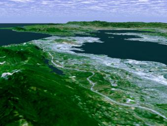Perspective View with Landsat Overlay, San Francisco Bay Area, Calif.